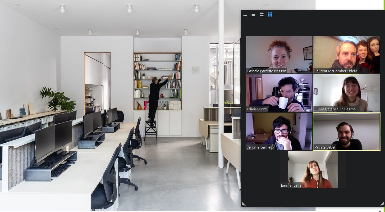 Laurent McComber et son équipe en vidéoconférence. Image : L. McComber