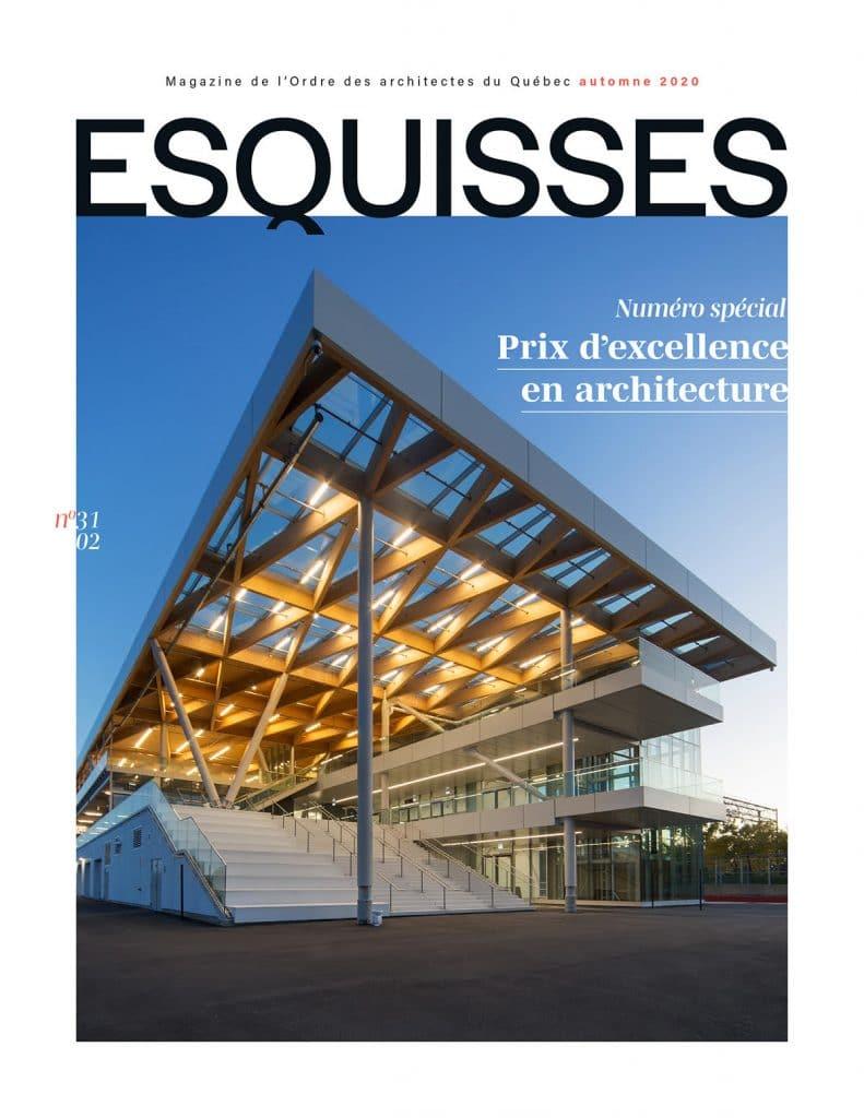 Magazine Esquisses, automne 2021. Photo de couverture : Espace Paddock, Montréal, grand prix d'excellence en architecture 2020. Les architectes FABG Photo : Steve Montpetit