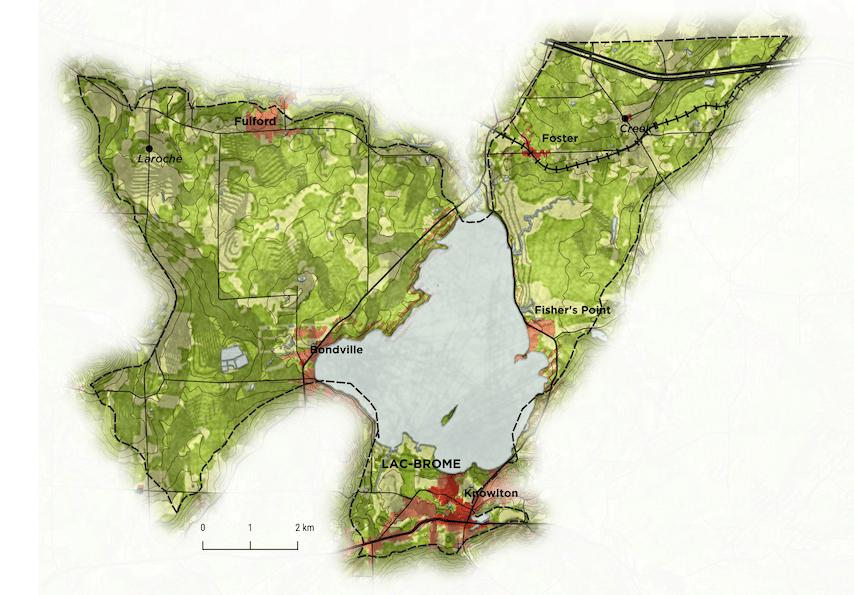 Carte de l'entité paysagère du bassin du lac Brome dans la MRC Brome-Missisquoi Image : Louis-Philippe Rousselle-Brosseau, Les Mille Lieux