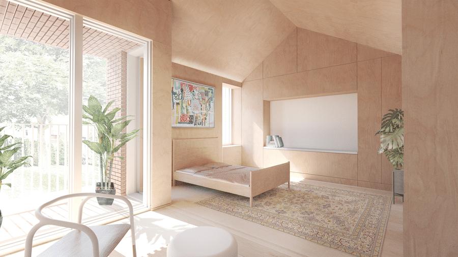 Chambre de maison des aînés, Francis Alphonso, étudiant à la maîtrise en architecture. Image : Francis Alphonso