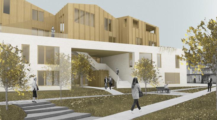 Perspective d'une maison des aînés surmontée de logements pour étudiants, conçue par l'étudiante à la maîtrise en architecture Ariane Beauregard Rivard. Image : Ariane Beauregard Rivard